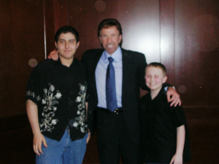 Chuck Norris with the boys Mike and Trev